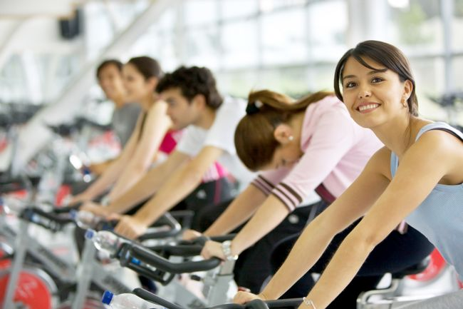 Spinning class at the gym